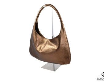 Italian calf leather in bronze, gray, black and taupe-beige Hobo bag. Precious and exclusive. Handmade in Milano!