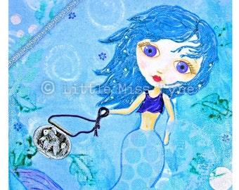 "My Pet Goldfish - Mixed Media Painting Original Canvas Art Decor - 9""x12"""