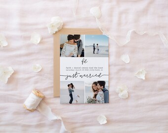 wedding elopement announcement card · 5x7 · printable wedding stationery · just married announcement · wedding photo card printable · 0 0 1