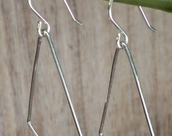 Kite Outline Smooth Earrings, Sterling Silver