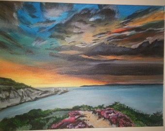 Sunset island. Acrylic painting  on canvas modern original eunique artwork.