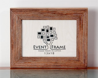 5x7 inches, 13x18 cm Unique Design Picture Frame from Natural Baltic Birch Plywood, Brown color, Striped style