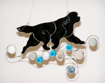 Running on the Waves  Newfoundland Dog, Stained Glass Suncatcher, Tiffany technique, Sea Motifs, Blue & Turquoise Ocean Waves