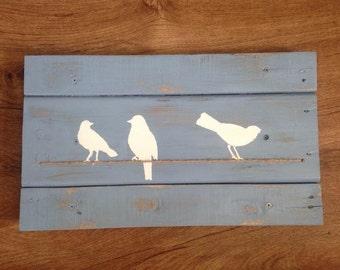 White Birds on Wire - Pallet Wood Art