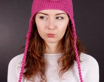 Piggy Hat, Children Hat, Adult Hat, Winter Hat, Autumn Hat, Spring Hat, Pink Hat