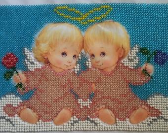 """Embroidery. Beadwork. Beadwork angels Couple. Embroidery angels. Embroidery 8,27""""x5,91"""""""