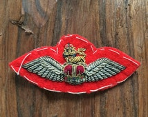 Exquisite hand made goldwork embroidery, Army air corps wings, crown and lion