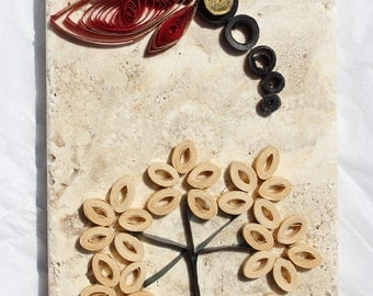 Quilled Dragonfly on Travertine Tile