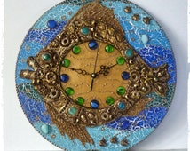 Fish wall clock,goldfish wall clock,Beach Clock,Unique Clock,original decorative wall clock,fishing gift clock,hand painted clock,Wall Art