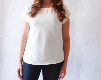 Basic Dolman Tshirt short sleeve shirt womens cotton tee loose fit top jersey knit blouse scoop neck tshirt off white shirt - Made to Order