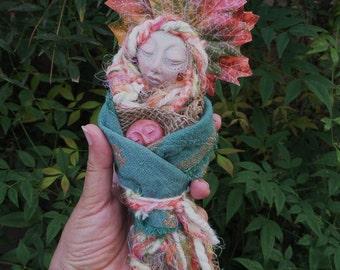 Wall Decor, Art Doll, Ethnic Art, ooak Art Figure, Kitchen Decor, Shabby chic, kitchen witch, bridal shower gift, wedding gift