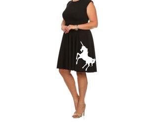 Women's Unicorn Dress Fit and Flare dresses Plus size clothing unicorns cute tunic screen printed pin up mint retro wear 2XL 3XL sizes