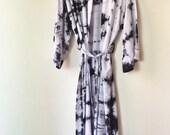 Hand Dyed Moonstone Kimono Robe, Black and White Tie Dyed Rayon Bathrobe, Anna Joyce, Portland, OR.