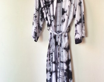 Hand Dyed Moonstone Kimono Robe, Black and White Tie Dyed Rayon Bathrobe, Anna Joyce, Portland, OR.
