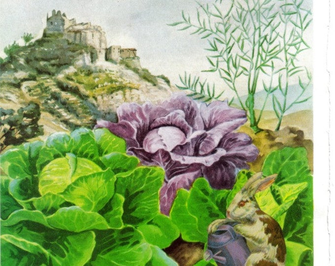 Vegetable Garden Art Collage, Veggie Artwork for Kitchen