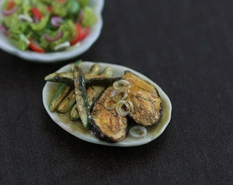 Grilled Eggplant Boats with Roasted Zucchini - 1:12 Dollhouse Miniature Food