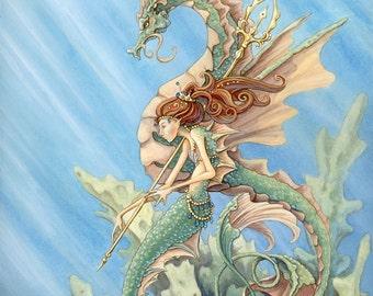 "Mermaid and Sea Dragon, 11x14"" Print"