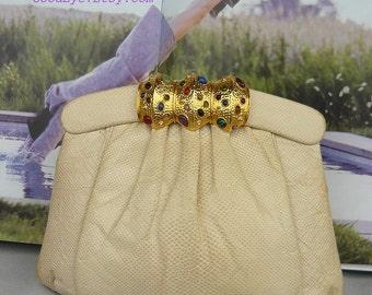 Vintage TIRAS Snakeskin Clutch Purse / Colorful JEWELS CLOSURE / Handbag Shoulder Bag 1980s / Ivory White Dyed Python made Hong Kong