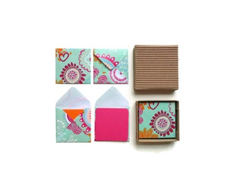 Cute Flowers on Mint Green Stationery Set, Blank Note Color Cards Greeting Thank You Gift Tags, Under 15, Small Handmade Square Envelopes