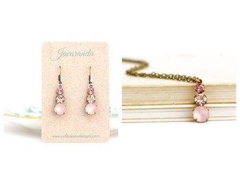 Pink Jewelry - Gift Set - Pink Crystal Drop Earrings - Crystal Necklace - Feminine Jewelry - Bridesmaids Gifts - Bridal Jewelry