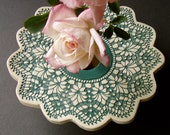 Forest Green & White Lace Doily Vase