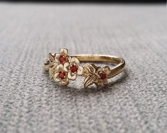 Garnet Gold Flower Engagement Ring Delicate Floral Wedding Bridal Band Dogwood Blossom Red Yellow 14K Gold Cluster Anniversary Branch