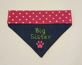 Big Sister Dog Bandana, Paw Print, CLEARANCE PRICES, Dog Bandana, Pet Accessories, New Baby, Pet Clothing,Pet Neckwear, Baby Announcement