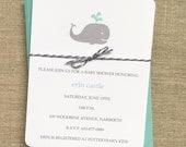 Whale Baby Shower Invitation Boy