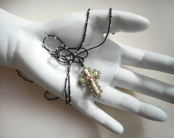 Tiny, sweet little shabby chic cross necklace Victorian vibe