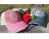 Monogrammed Trucker Hat Cap - Distressed Look - Just for Me Sewing-FAST SHIPPING