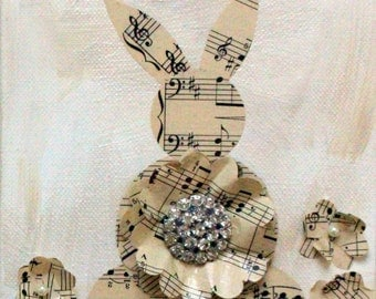 Mixed Media Vintage Sheet Music Bunnies - Easter Spring Rabbits - Nursery Wall Decor - Canvas Art - Original Art by Suzanne MacCrone Rogers