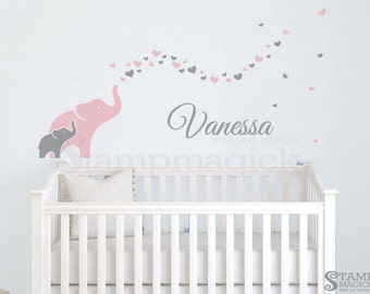Elephants Wall Decal for Baby Girl Nursery - elephants decal blowing hearts baby name vinyl wall art decor for children's room - K405