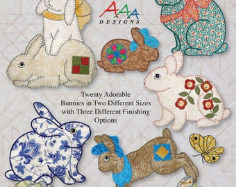 Bunnies & More -- Applique in the Hoop for Embroidery Machines -- Digitized Designs on Thumb Drive