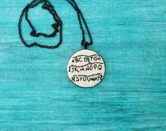Stranger Things - Cross Stitch Pendant - Stranger Things Cross Stitch - Cross Stitch Necklace - Embroidery Jewelry - Alphabet Ouija Wall