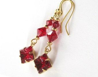 Red Rhinestone Art Glass Earrings, Vintage Stones, Siam Red Swarovski, Ruby Red