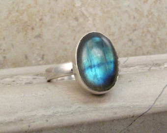 Simple Labradorite Ring - Silver Blue Labradorite Cocktail Ring in Size 6.5 - Modern Classic Ring Gift Idea For Her