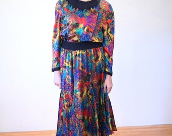 Spirited Diane Freis 80s Dress, Artsy Dress, Midi Dress, Multicolor Rainbow Print Boho Dress, Designer 1980s Vintage Dress Size M