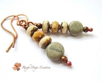 Rustic Earrings Earthy Jewelry Autumn Earrings Fall Colors Boho Dangle Earrings, Natural Stones Sage Green Jasper, Brown Cream Glass, Copper