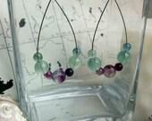 Fluorite and Steel Earrings, One of a Kind