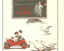1926 Fisk Tire Company Ad, Little Boy, Fire Truck & Geese, Vintage Wall Decor Print
