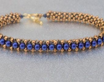navy pearl bead bracelet beadwork bracelet seed bead jewelry bronze stackable bracelet