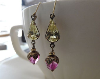 Drops of Spring Yellow and Pink Glass Earrings with Vintage Rhinestones and Antique Brass