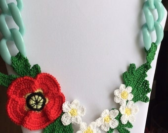 Free form crochet necklace Summer flowers