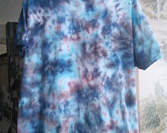 2XL Blue and Brown Crumple Tie-Dye T-Shirt