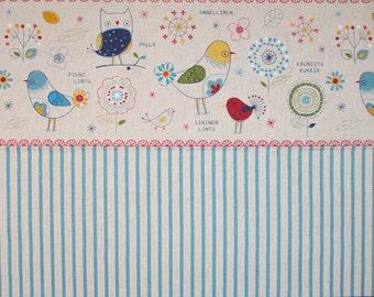 Lecien Cotton Linen fabric - Minakoko by Koko Seki - Bird Stripe L40581-10 Natural select length