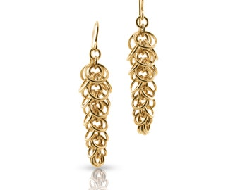 Graduated Gold Chain Link Dangle Earrings // Chainmaille // Gifts for Her