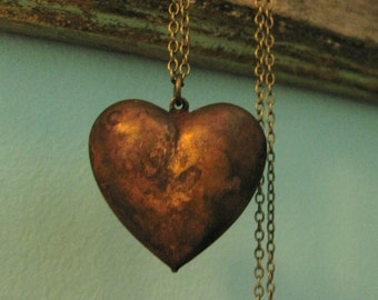 Puffy Heart Pendant Heart Necklace Vintage Honey Chocolate ONCE LOVED
