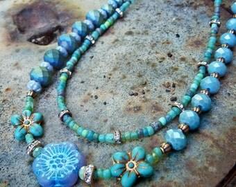 Blue flower multi strand glass beaded necklace. boho flower child