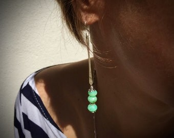 Long Dangly Boho Chic Chrysoprase and Silver Earrings - Gemstone Earrings - Bright Green - Gypsy Chic - Rustic Jewelry