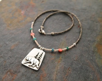 Gemstone and Bear in woods Necklace